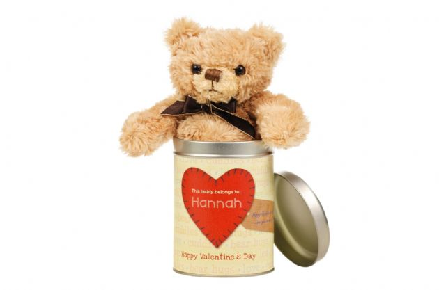 Valentine's Day Teddy in a tin - Words